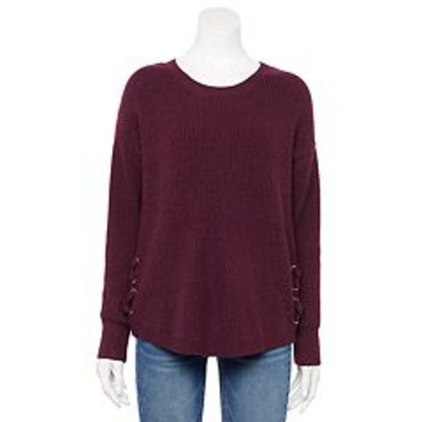 Juniors' Pink Republic Side Lace Up Sweater deals at $24.99