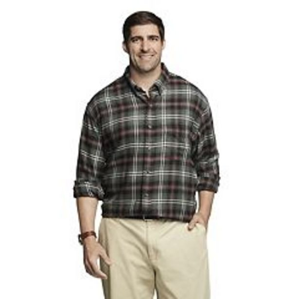 Big & Tall IZOD Classic-Fit Plaid Flannel Button-Down Shirt deals at $36