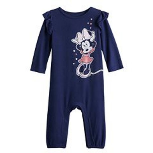 Disney's Minnie Mouse Baby Girl Ruffle Sleeve Jumpsuit by Jumping Beans® deals at $11.99