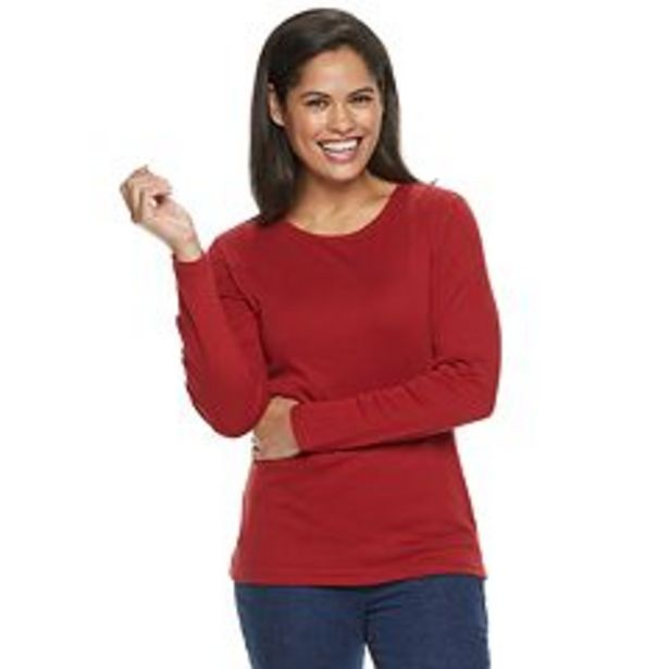 Women's Croft & Barrow® Essential Long Sleeve Crewneck Tee deals at $13.99