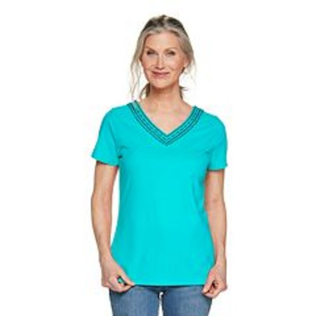 Women's Croft & Barrow® Embroidered V-Neck Top deals at $4.5
