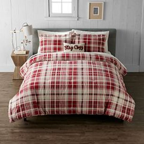 Cuddl Duds® Red Ivory Plaid Heavyweight Flannel Comforter Set with Coordinating Pillow deals at $84.99