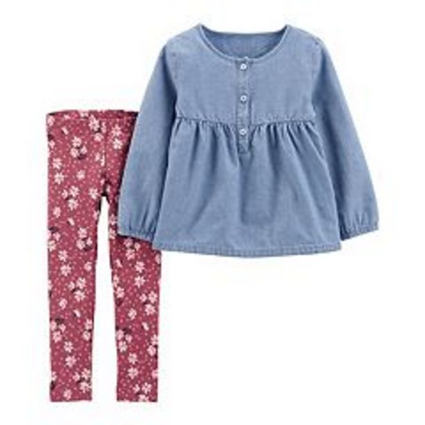 Baby Girl Carter's 2-Piece Chambray Top & Legging Set deals at $13