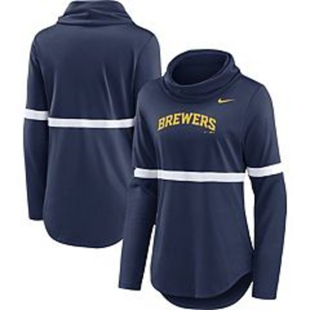 Women's Nike Navy Milwaukee Brewers Club Lettering Fashion Pullover Performance Sweatshirt deals at $64.99