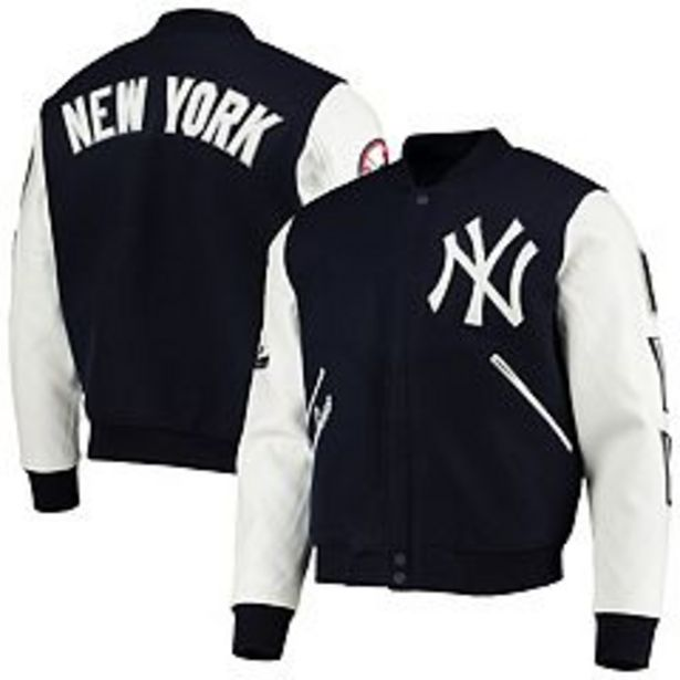 Men's Navy/White New York Yankees Logo Full-Zip Varsity Jacket deals at $197.99