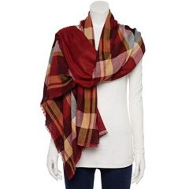 Women's Sonoma Goods For Life® Mod Plaid & Solid Reversible Wrap Scarf deals at $19.2