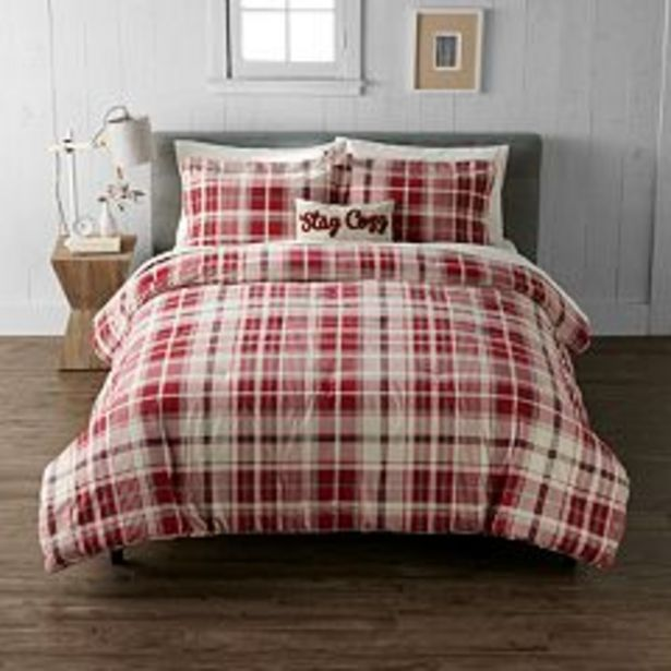 Cuddl Duds® Red Ivory Plaid Lightweight Comforter Set with Shams deals at $84.99