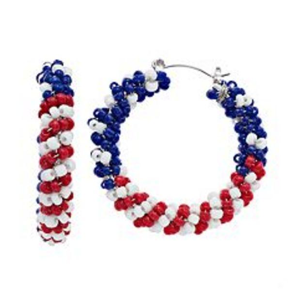 Red, White & Blue Nickel Free Beaded Twist Hoop Earrings deals at $5.6