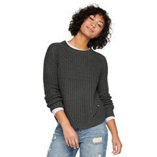 Juniors' SO® Crewneck Shirttail Hem Sweater deals at $24.99