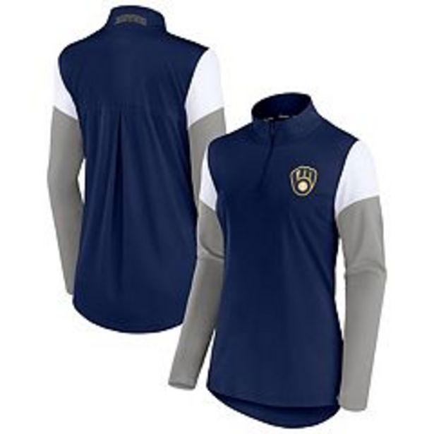 Women's Fanatics Branded Navy/Gray Milwaukee Brewers Authentic Fleece Quarter-Zip Jacket deals at $59.99