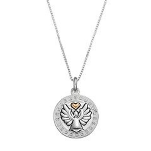 """Timeless Sterling Silver Two Tone Crystal """"Guardian Angel"""" Pendant deals at $29.99"""