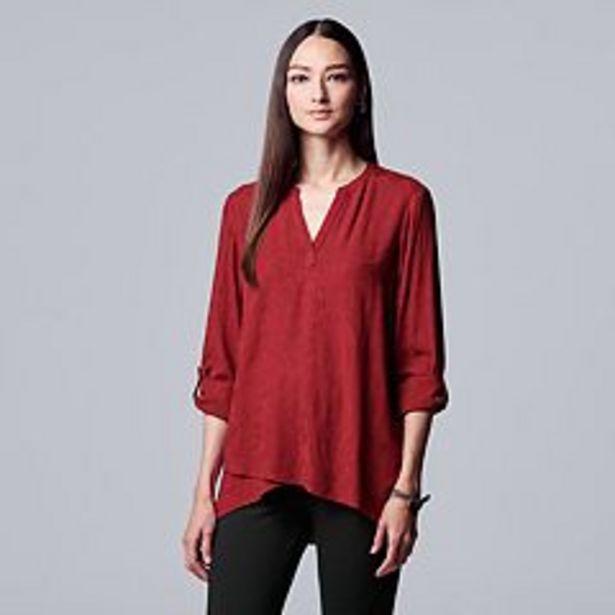 Women's Simply Vera Vera Wang Cross-Front Roll-Tab Blouse deals at $44