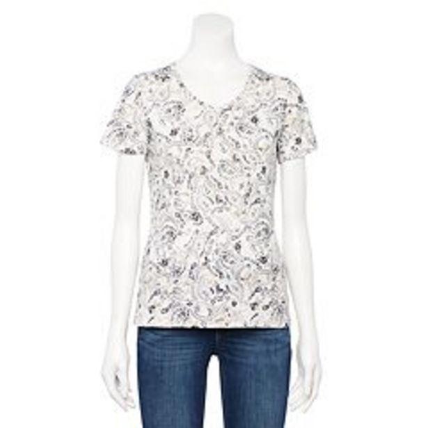 Petite Croft & Barrow® V-Neck Short Sleeve Top deals at $3.25