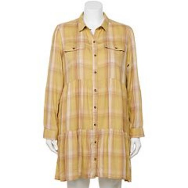 Juniors' Plus SO® Tiered Long Sleeve Shirt Dress deals at $27.99