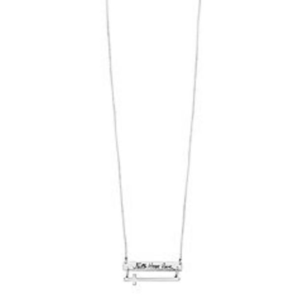"""Timeless Sterling Silver """"Faith Hope Love"""" Sideways Cross Necklace deals at $29.99"""