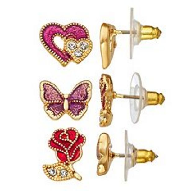 Napier Gold Tone Simulated Crystal Hearts, Butterfly & Rose Stud Earrings Set deals at $7.2