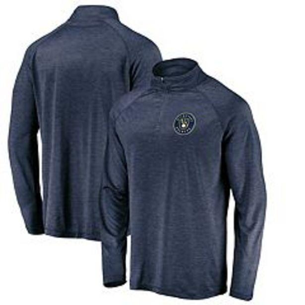 Men's Fanatics Branded Navy Milwaukee Brewers Iconic Striated Primary Logo Raglan Quarter-Zip Pullover Jacket deals at $49.99