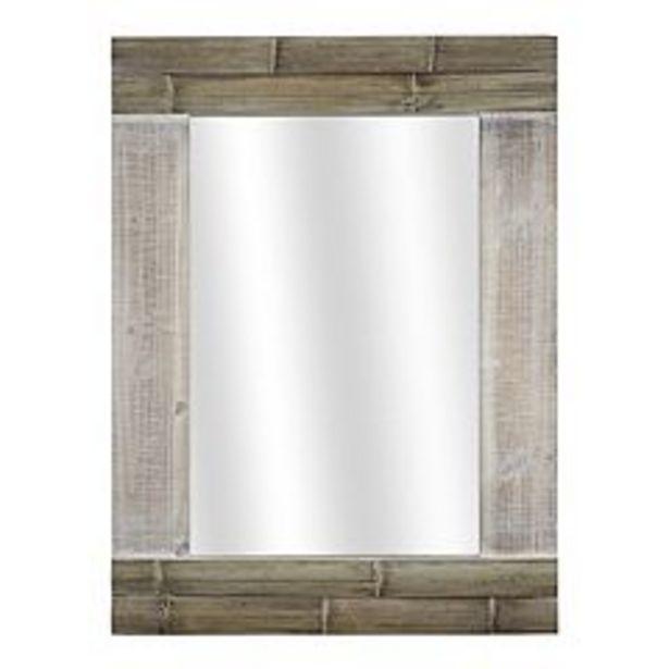 American Art Décor Faux Bamboo Whitewash Framed Wall Mirror deals at $112.77