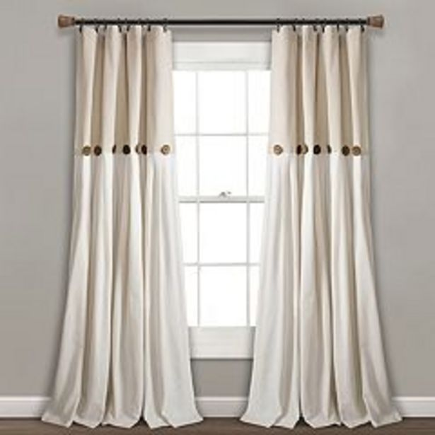 Lush Decor Linen Button Window Curtain Panel deals at $37.99