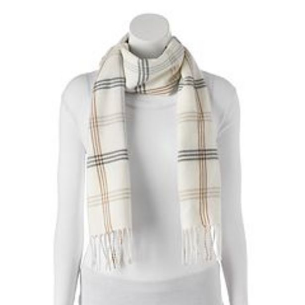 Softer Than Cashmere Windowpane Fringed Oblong Scarf deals at $11.99