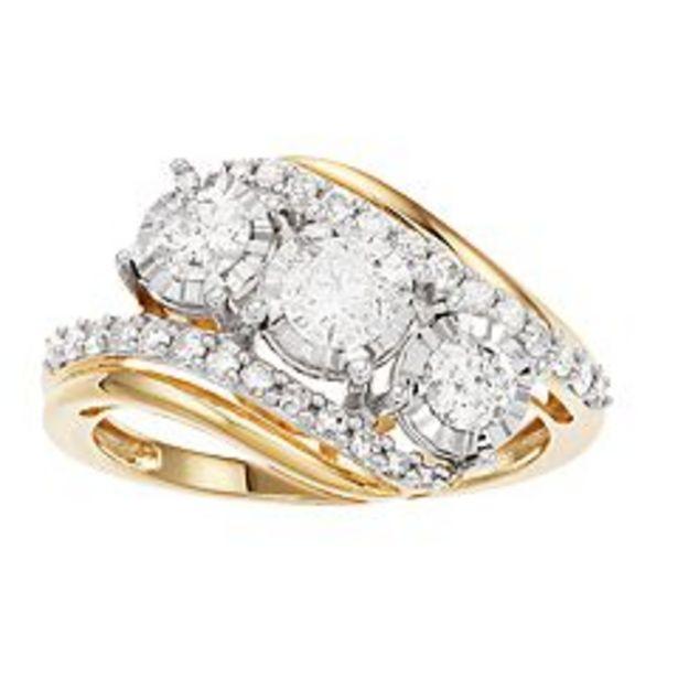 10k Gold 1 Carat T.W. Diamond 3 Stone Ring deals at $1000