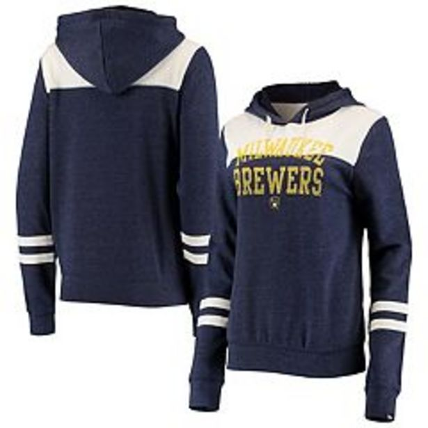 Women's New Era Heathered Navy/White Milwaukee Brewers Colorblock Tri-Blend Pullover Hoodie deals at $59.99