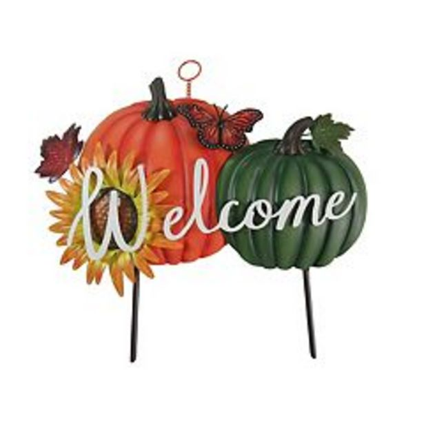 Celebrate Fall Together Welcome Pumpkin Garden Stake deals at $20.99