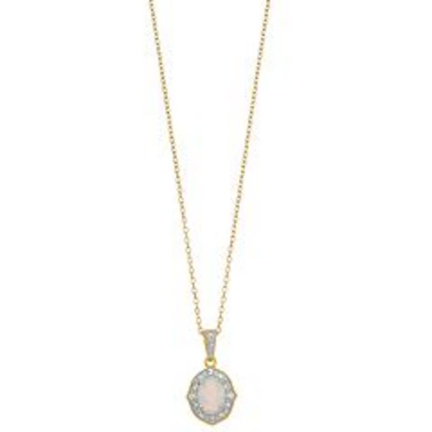RADIANT GEM Lab-Created White Opal & Diamond Accent Pendant Necklace deals at $29.99