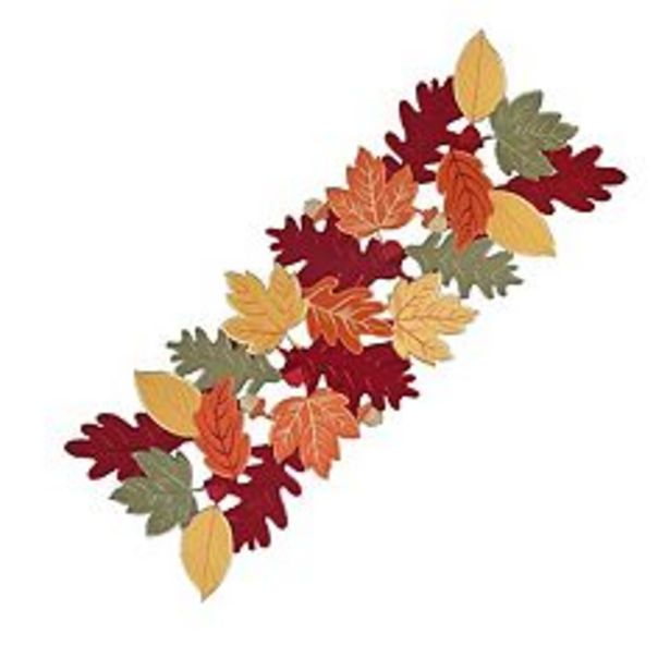 """Celebrate Fall Together Leaf Cut-Out Table Runner - 36"""" deals at $14.99"""