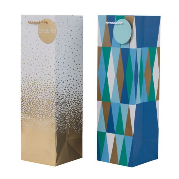 """13"""" Gold and Geometric 2-Pack Wine Bottle Gift … deals at $5"""