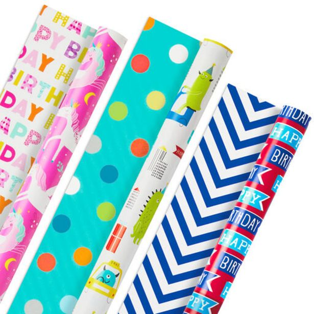 Colorful Kid Birthday 3-Pack Reversible Wrappin… deals at $14.99