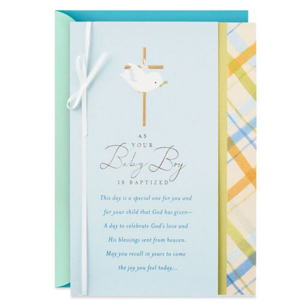 Dove With Gold Cross Religious Baptism Card for… deals at $3.99