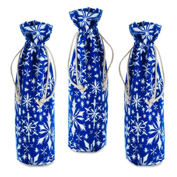 """14"""" Winter Snowflakes 3-Pack Fabric Wine Bottle… deals at $12.99"""