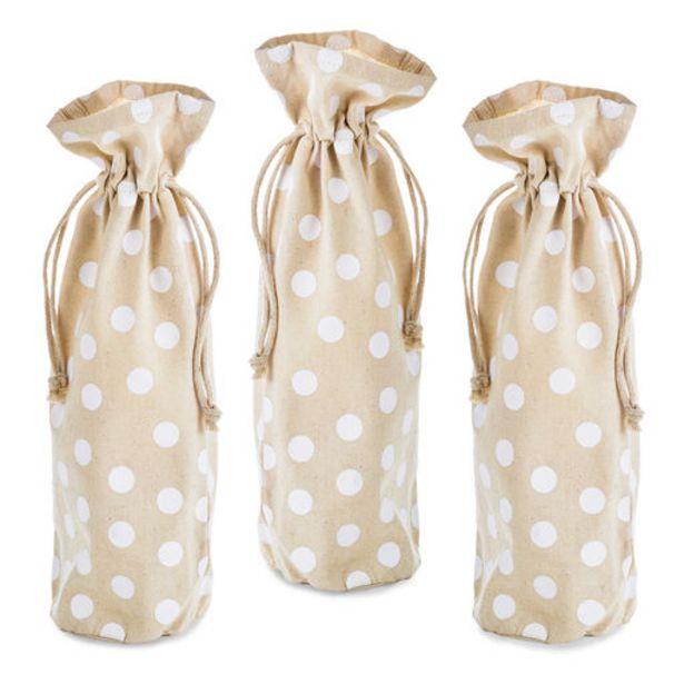 "14"" Polka-Dot Fabric 3-Pack Wine Bottle Gift Ba… deals at $12.99"