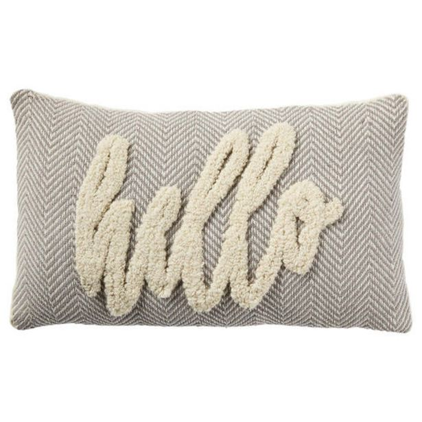 Hello Tufted Throw Pillow, 20x12 deals at $39.99