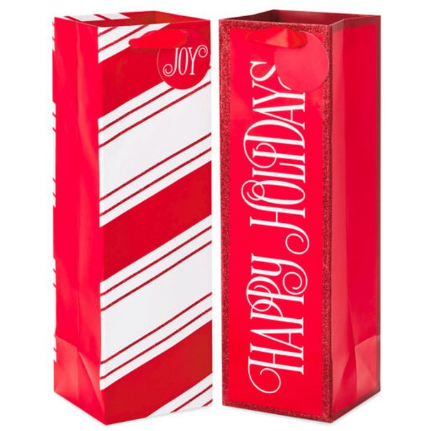 """13"""" Red and White 2-Pack Holiday Wine Bottle Gi… deals at $5"""